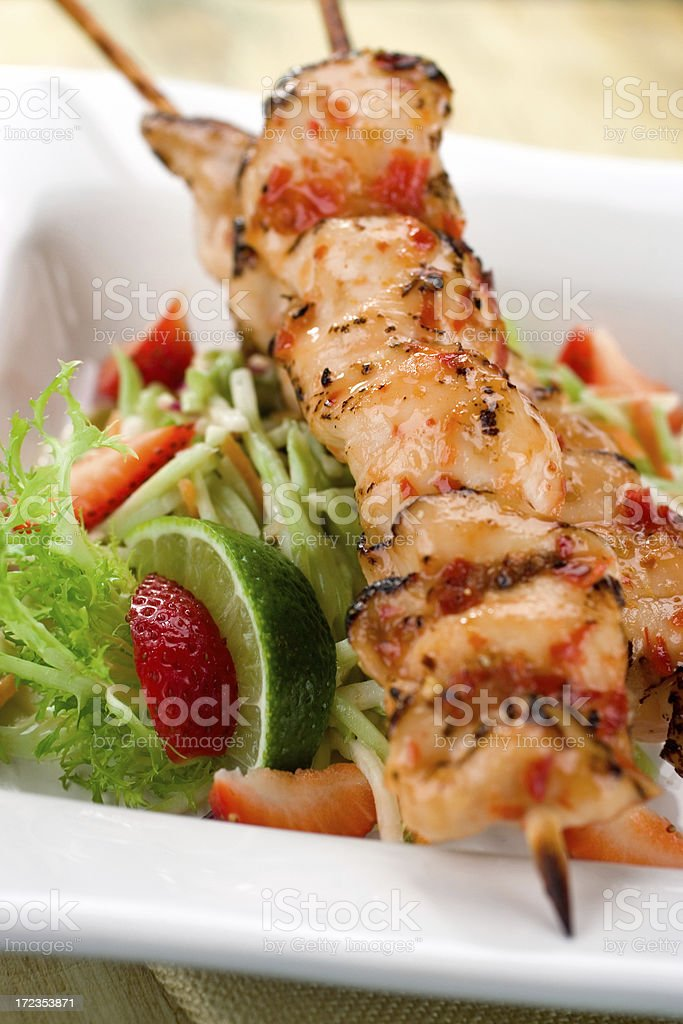 Chili Lime Chicken Skewers royalty-free stock photo