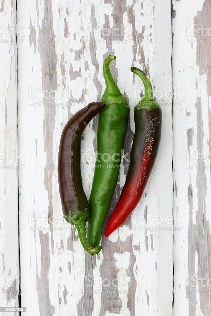 chili on a white, top view royalty-free stock photo
