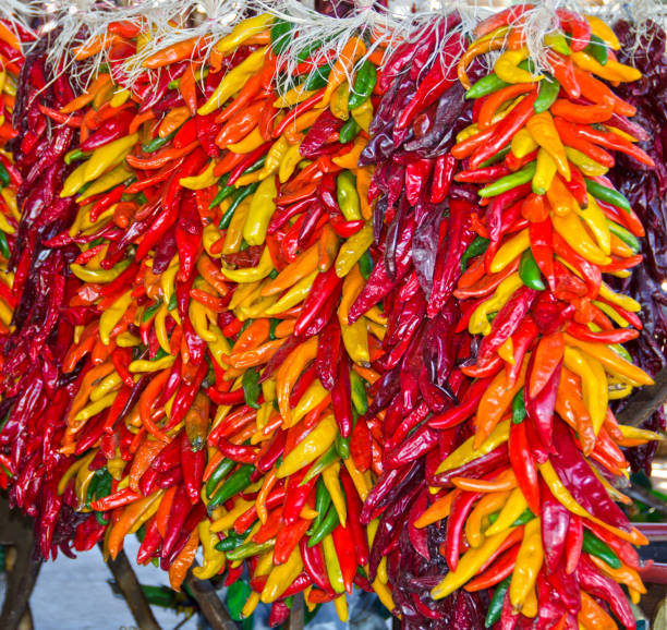 chili pepper ristras - green chilli pepper stock photos and pictures