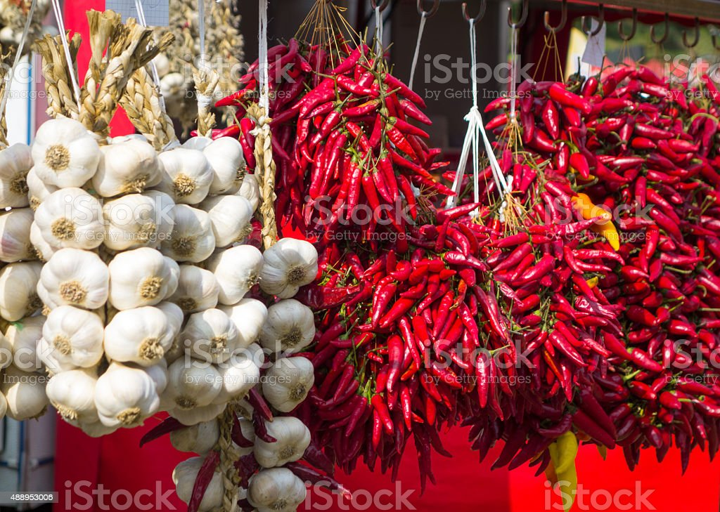 Chili Peppers and Garlic stock photo