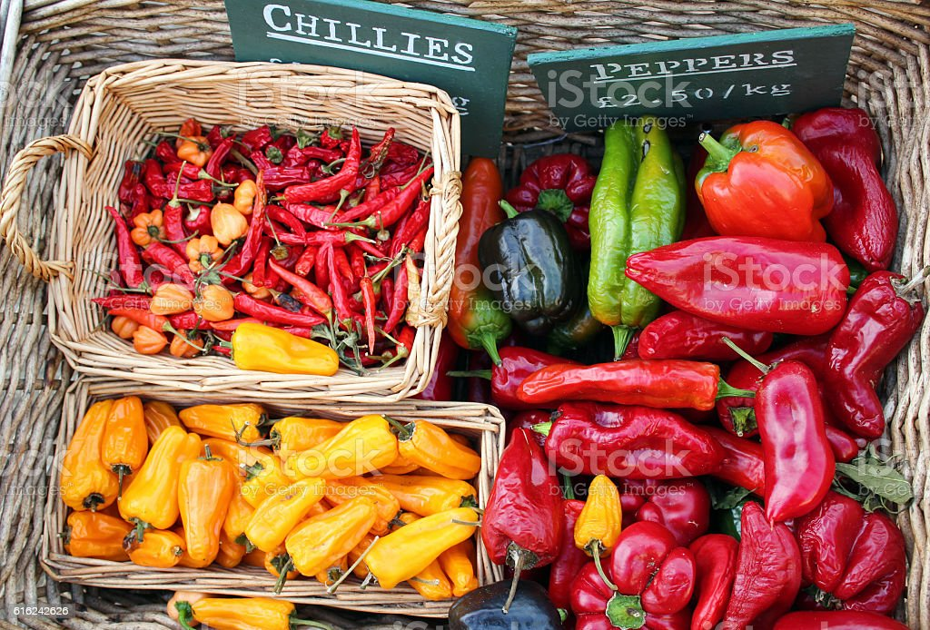 Chili Peppers at the farmer's market - Stock image stock photo
