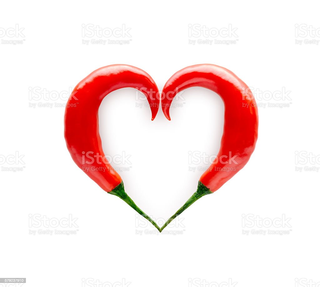 Chili Peppers Forming a Heart Shape stock photo