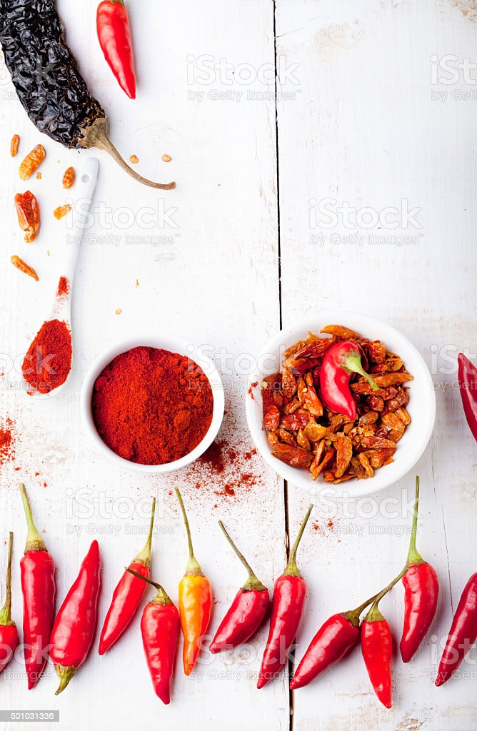 Chili peppers fresh and dry, smoked paprika. stock photo