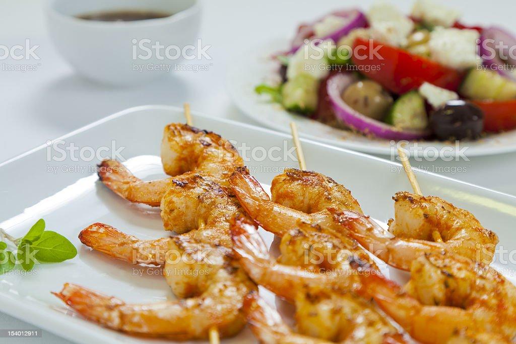 Chili prawn skewers close-up royalty-free stock photo