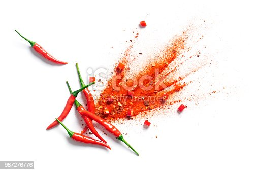 Chili, red pepper flakes and chili powder burst