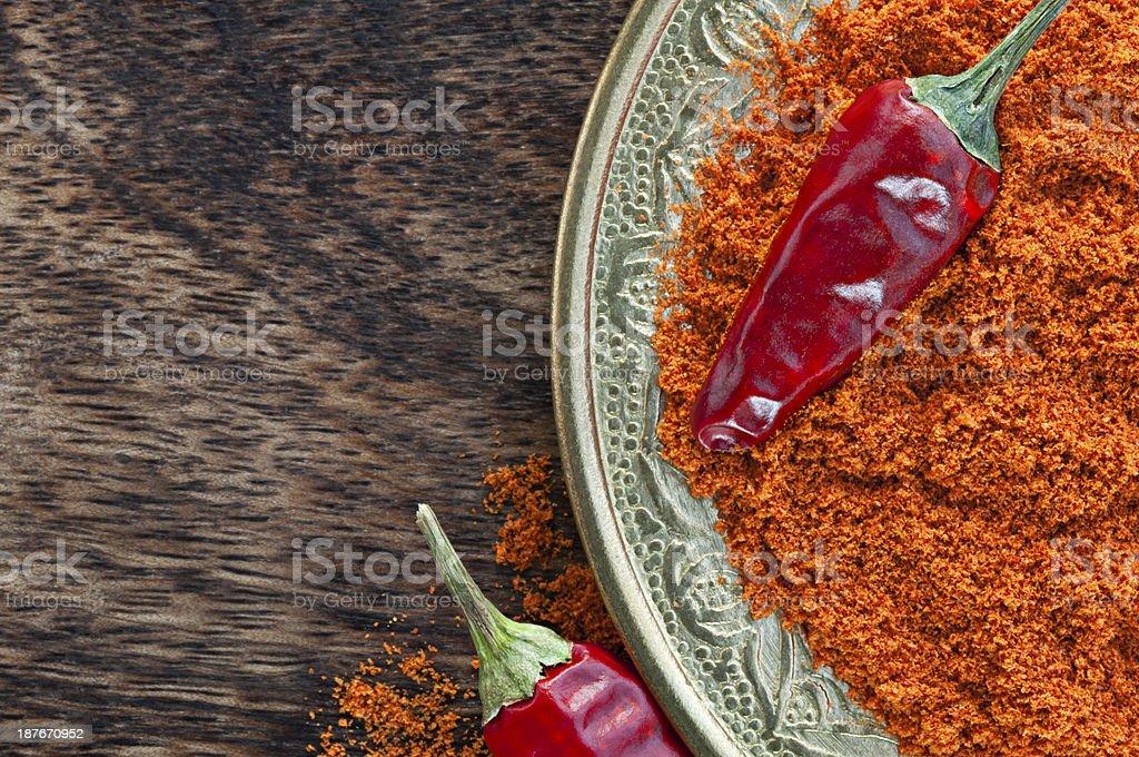 Chili red pepper powder stock photo