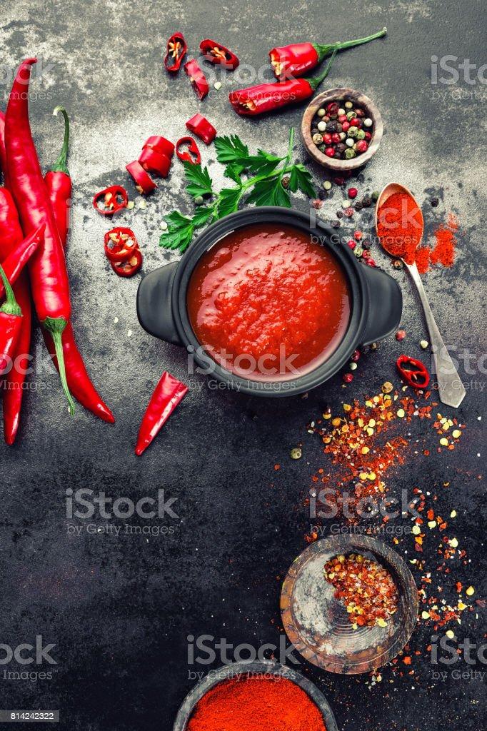 Chili sauce stock photo