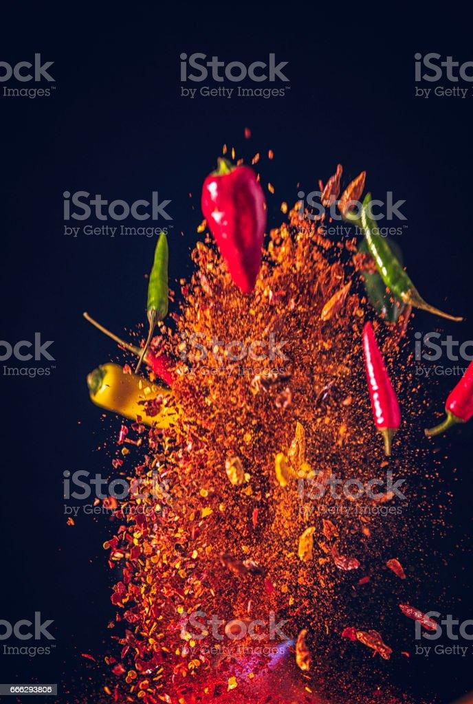 Chili Spice Mix Food Explosion stock photo