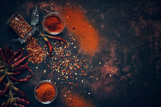 Chili Spice Mix with Chili Powder and Dried Chilies stock photo