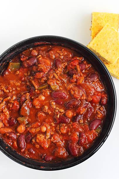 Chili with corn bread stock photo