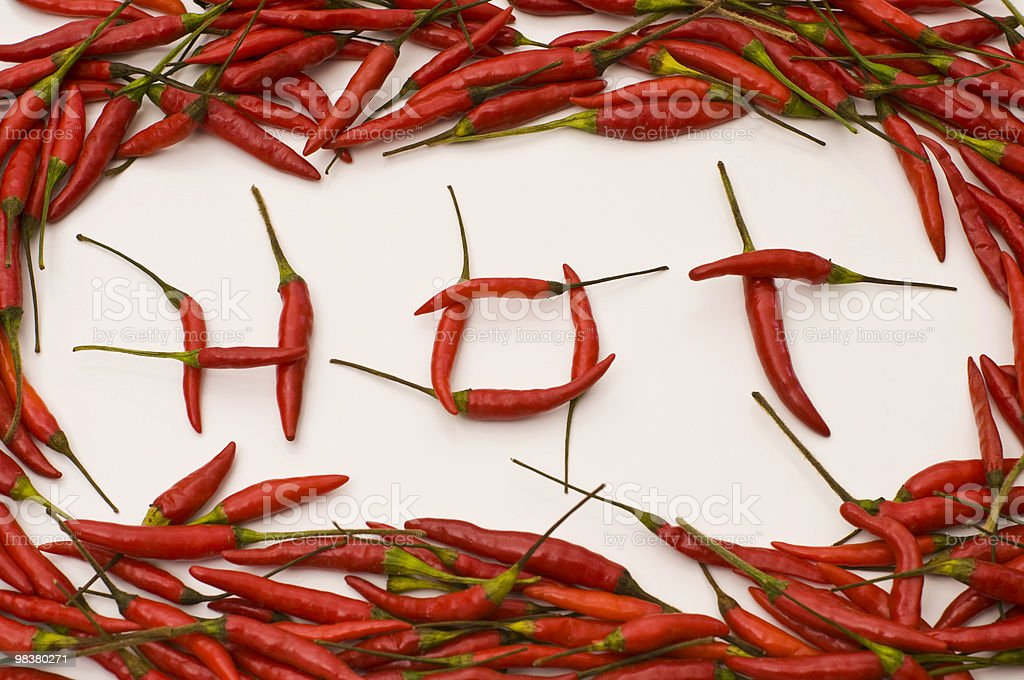 Chilies Spelled Hot royalty-free stock photo