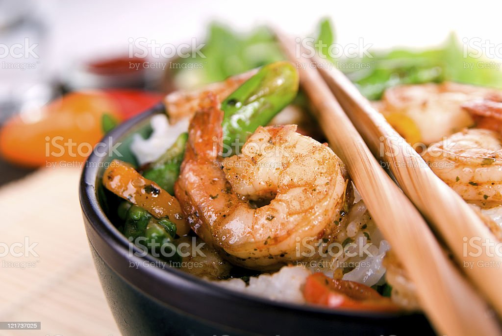 Chili-Lime Shrimp Stir Fry royalty-free stock photo