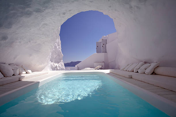 chill out in santorini - santorini stock photos and pictures