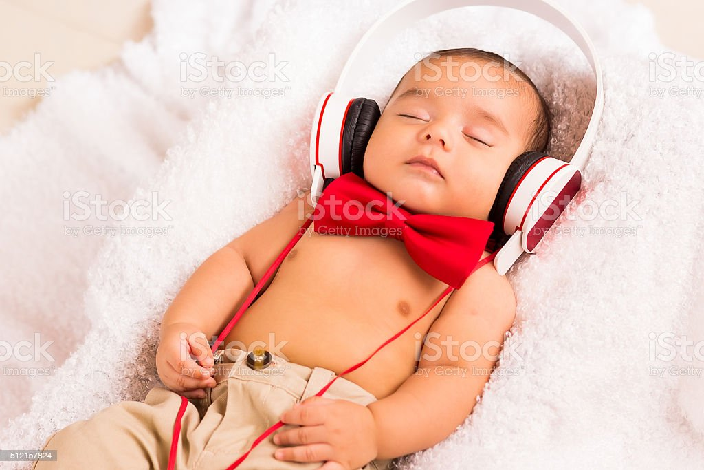 Chill out listen music stock photo