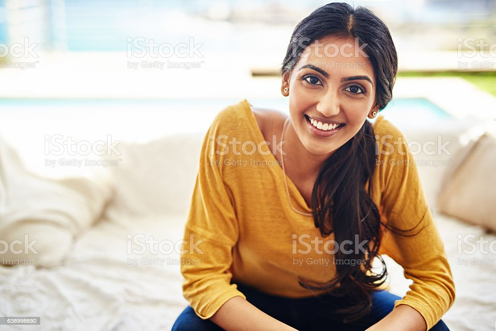 Chill time at home puts a smile on my face stock photo