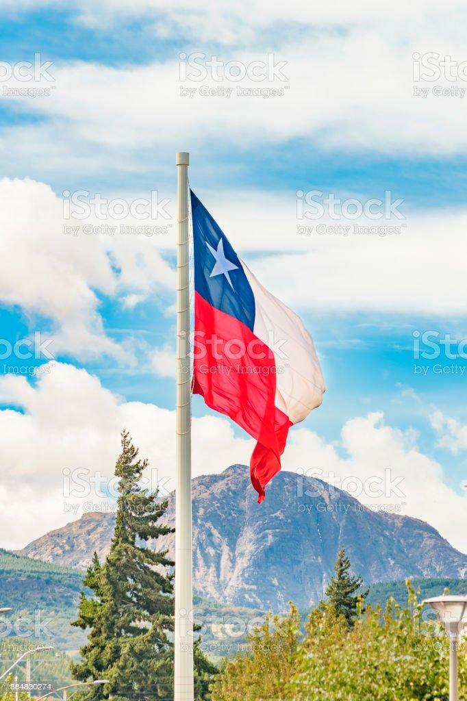 Chille bandeira, Coyahique, Chile - foto de acervo