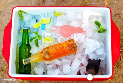 istock chilled colorful beverages in ice box. summer party 470753855