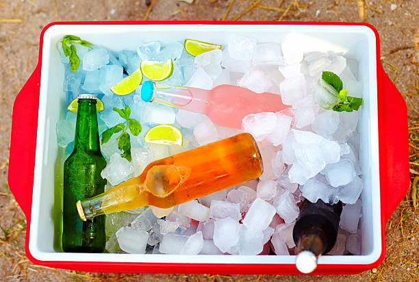 chilled colorful beverages in ice box. summer party chilled colorful beverages in ice box. summer party cooler container stock pictures, royalty-free photos & images