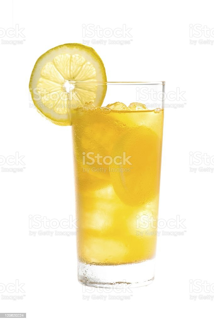 Chilled lemon ice tea over white royalty-free stock photo