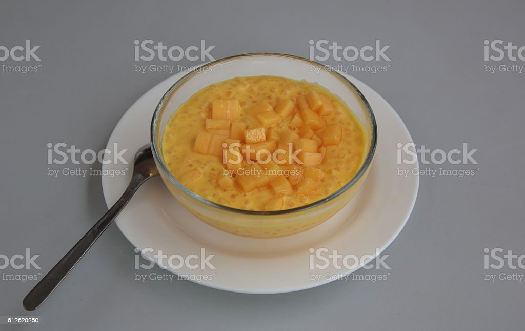 Chilled Mango, pomelo and sago with coconut cream (杨枝甘露) stock photo