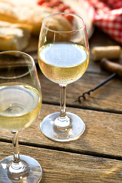 gekühlten weißwein im freien - picknick tisch kühler stock-fotos und bilder