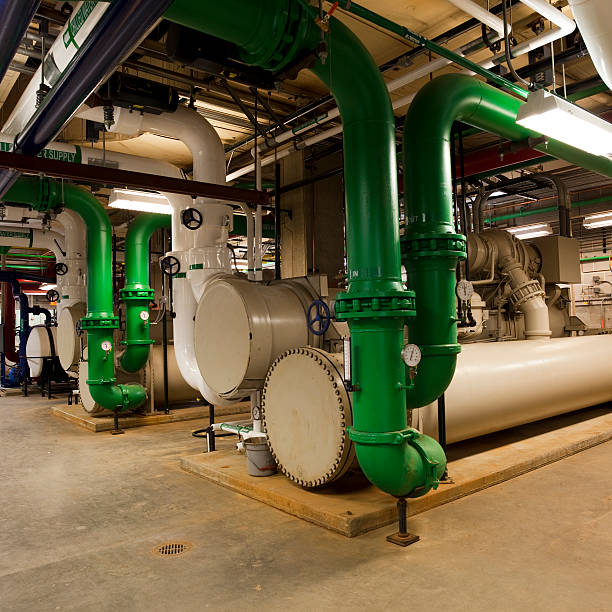 Chiller plant and piping stock photo