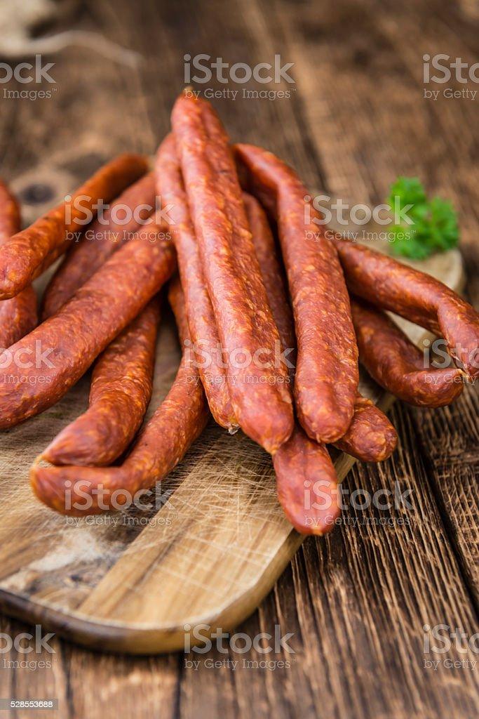 Chilli flavoured Sausages (German Mettwurst) stock photo