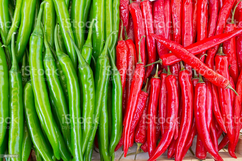chilli green and red were arranged in a neat stock photo