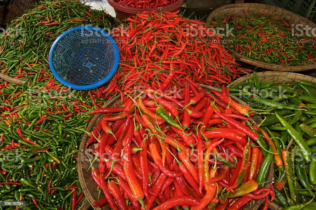 Chilli Padi, Bird's Eye Chilli, Bird Chilli, Thai pepper on Threshing basket. stock photo