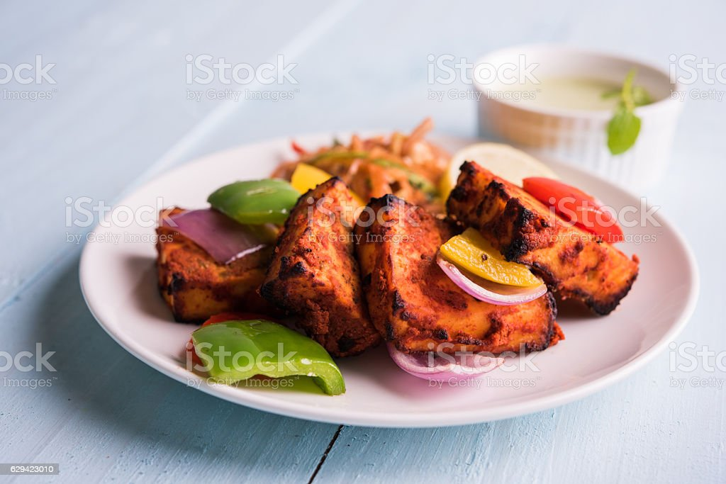 chilli paneer tikka or paneer kabab stock photo