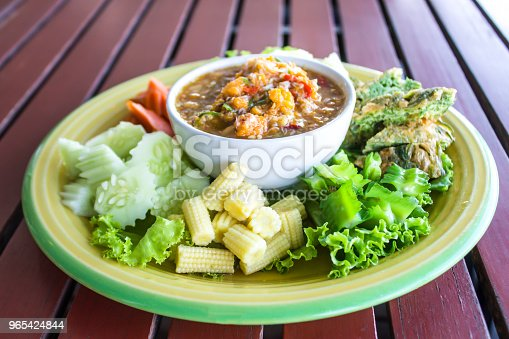 Chilli Paste With Many Vegetables Corn Cucumber And Fried Egg Is Thai Food Have A Delicious Spicy Taste Stock Photo & More Pictures of Asia