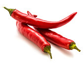 Group of three red Chilli isolated on white background