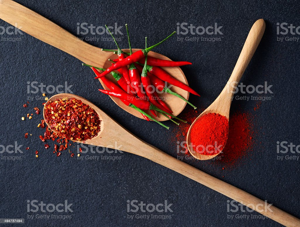 Chilli, Red Pepper Flakes and Chilli Powder stock photo