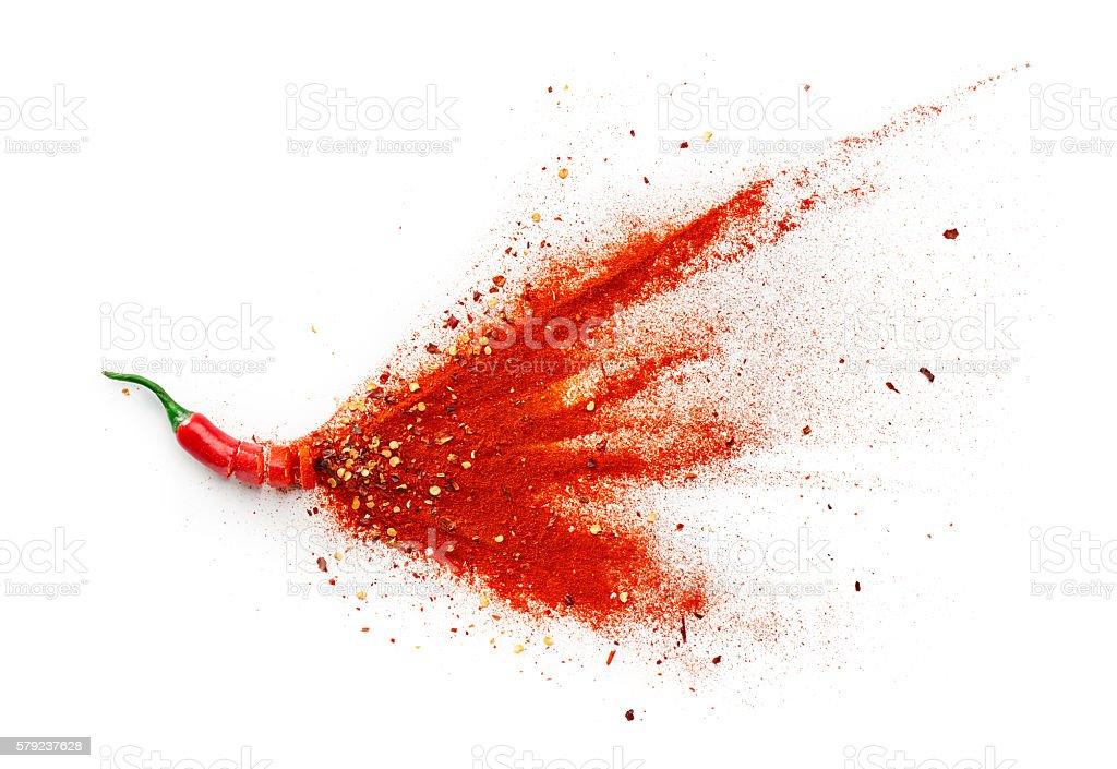 Chile, pimienta roja Flakes y chile en polvo foto de stock libre de derechos