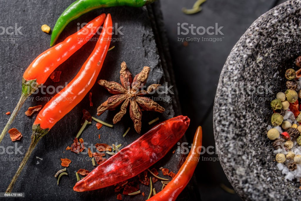172910cf9deb Chilli Red Pepper Flakes And Sea Salt Pepper Mortar And Pestle Stock ...