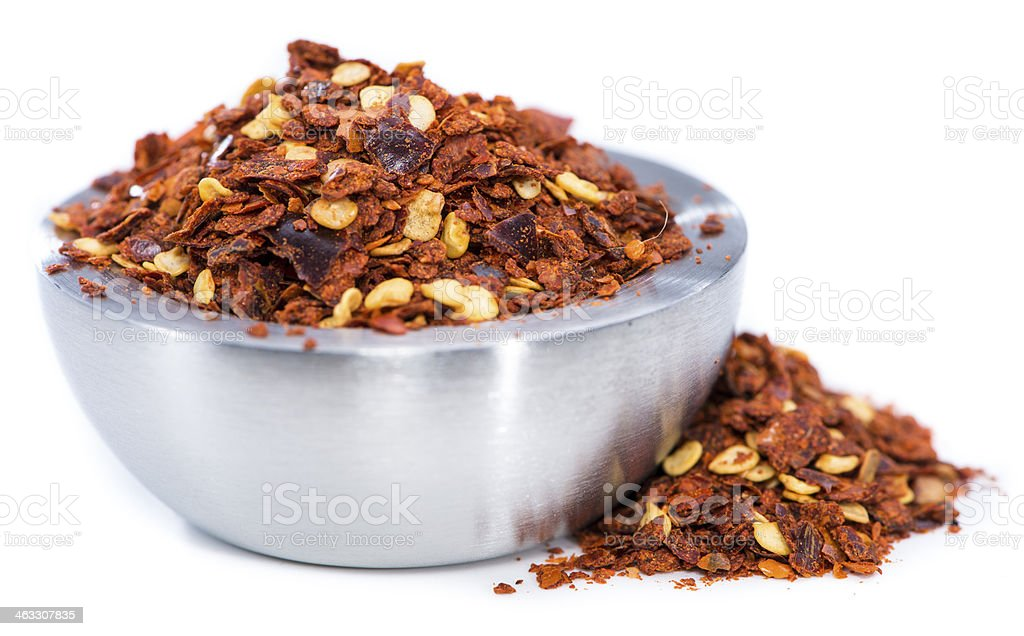 Chilli Spice in a small Bowl (on white) stock photo