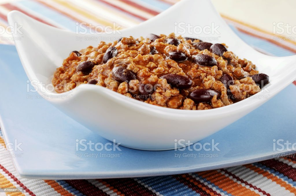 chilli with black beans stock photo