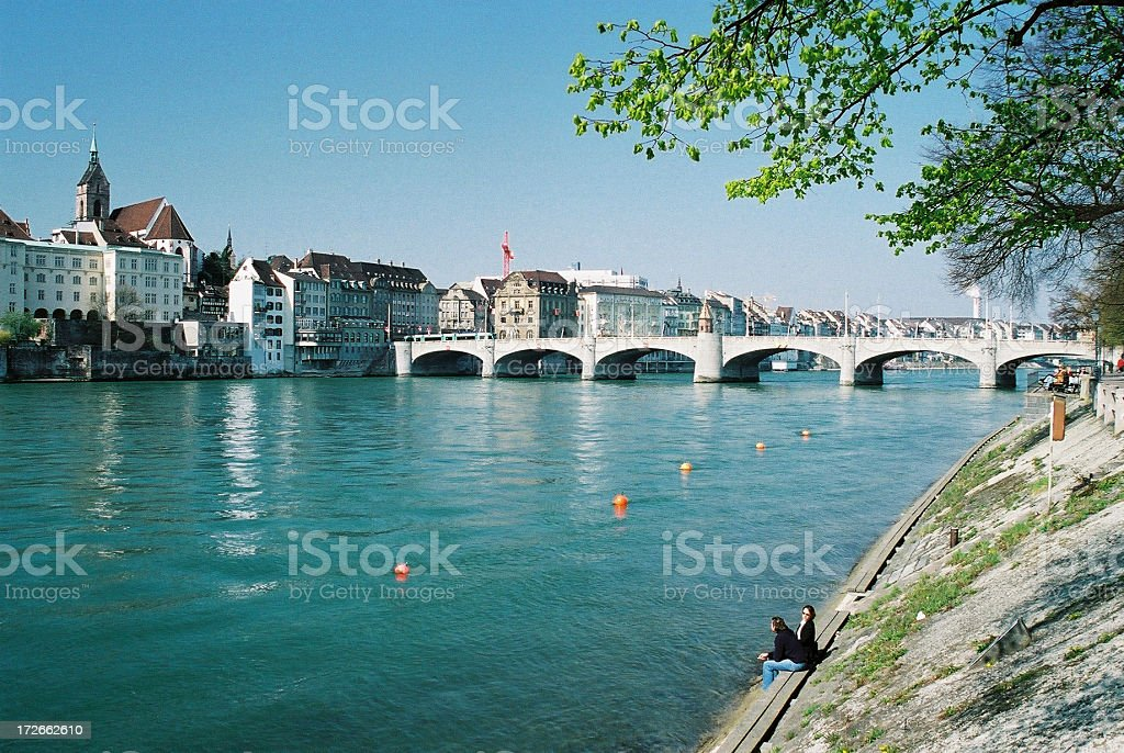 Chilling on the Rhine in Basel Switzerland stock photo