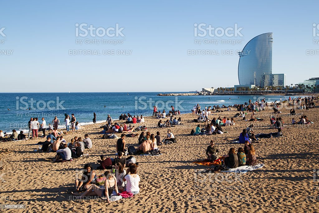 Chilling out at Barceloneta stock photo