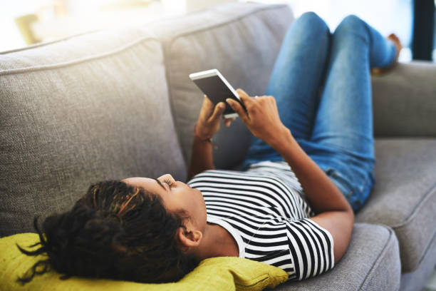 Chilling with connectivity stock photo