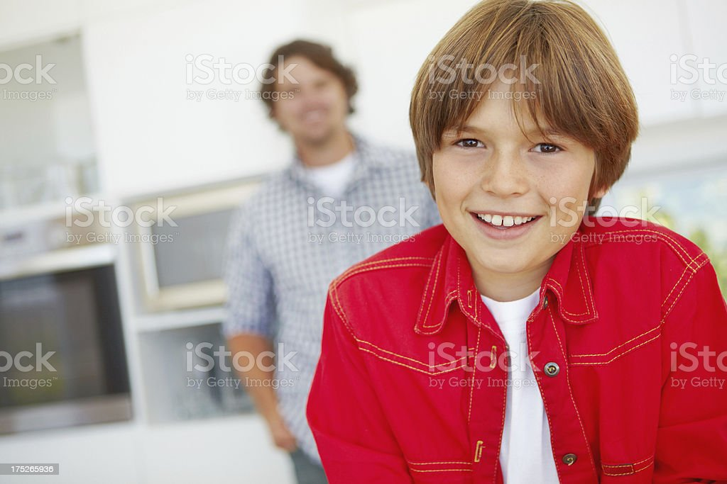 Chilling with dad in the kitchen royalty-free stock photo