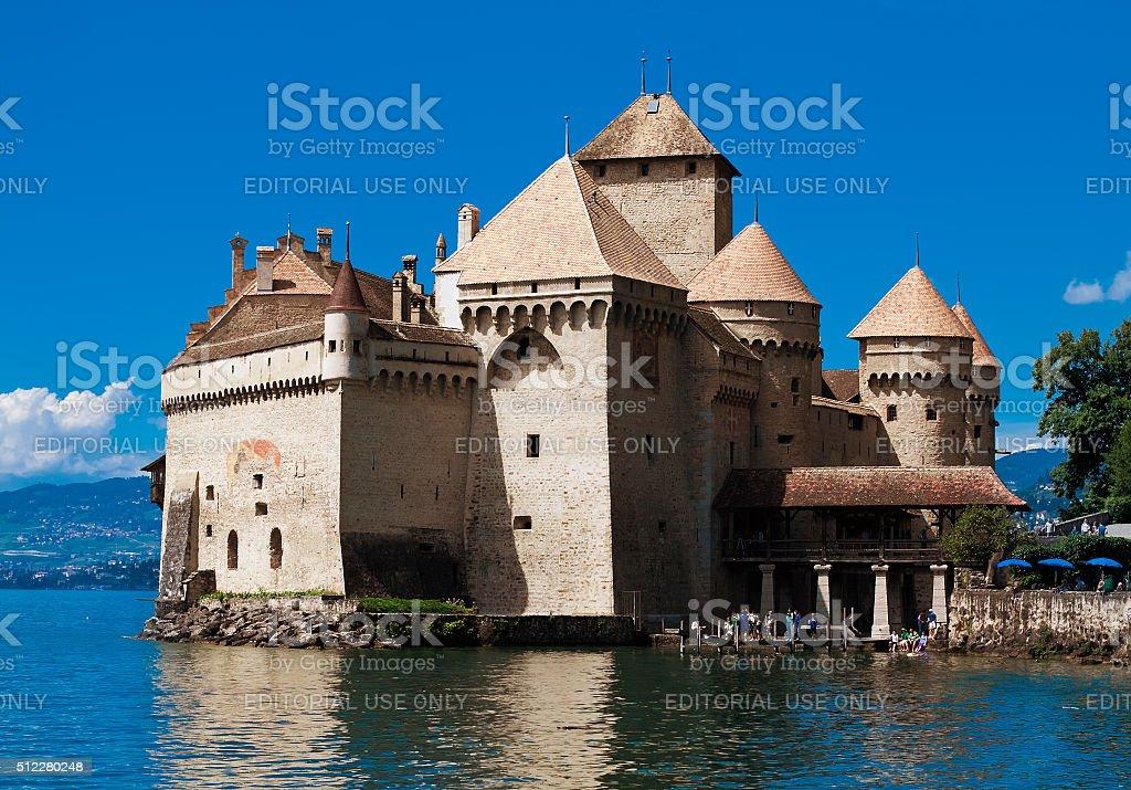 Chillon Castle (Chateau de Chillon) and lake Geneva, Montreux, Switzerland stock photo