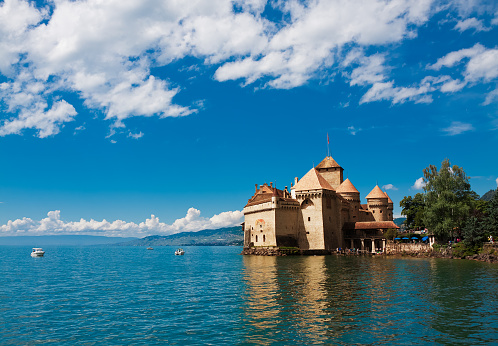 Chillon Castle (Chateau de Chillon) and lake Geneva, Montreux, Switzerland