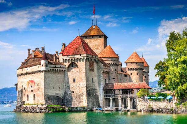 chillon castle - switzerland, lake geneve - lake geneva stock photos and pictures
