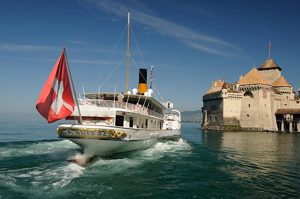 Château de Chillon Steamboat stock photo