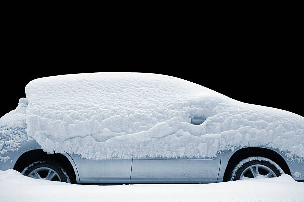 chilly car - snow pile stock photos and pictures