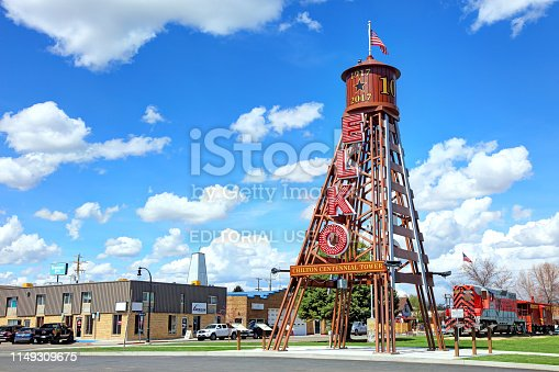 Elko, Nevada, USA - April 25, 2019: Daytime view of the Chilton Centennial Tower located in the heart of Elko on Seventh Street between Railroad and Commercial streets