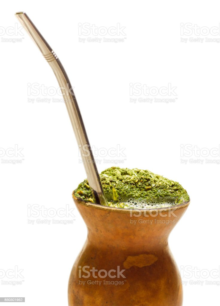 Chimarrao, traditional mate hot tea. Also knowed like mate. Chimarro isolated on white. Mate isolated on white. stock photo