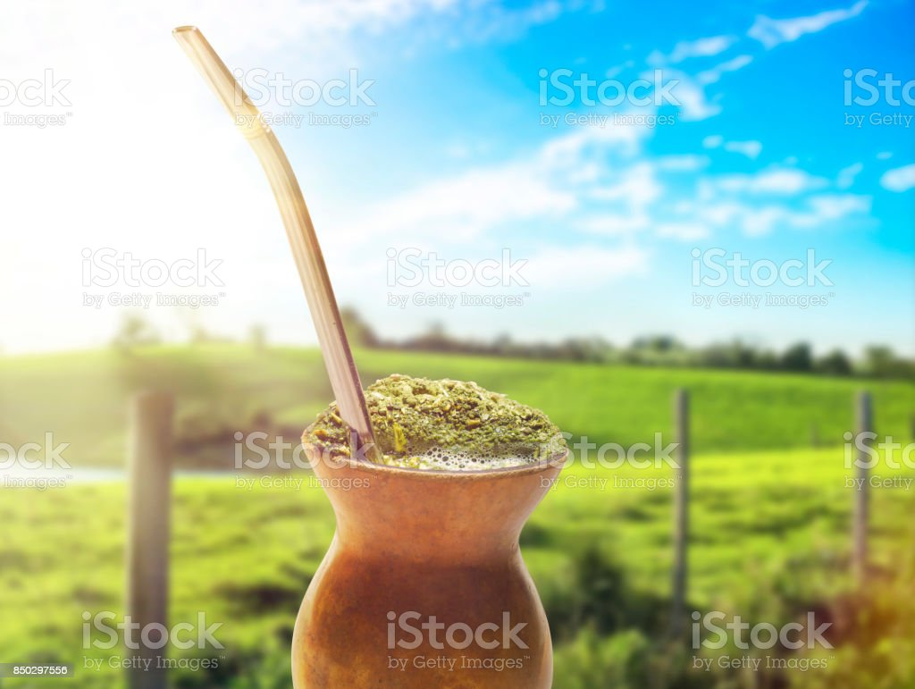 Chimarrao, traditional mate hot tea. Also knowed like mate. On sunny farm landscape bokeh background stock photo