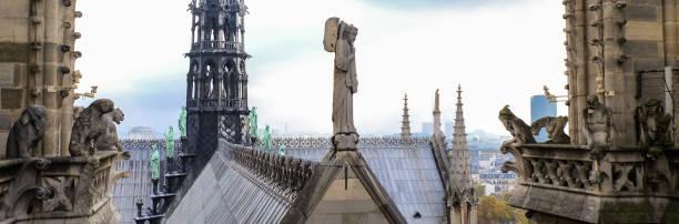 chimären (wasserspeier) der kathedrale von notre dame de paris mit blick auf paris, frankreich - kathedrale von notre dame stock-fotos und bilder